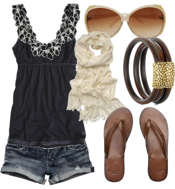 Nice summer outfit :) minus the scarf and I would wear black shoes and accessories with it instead