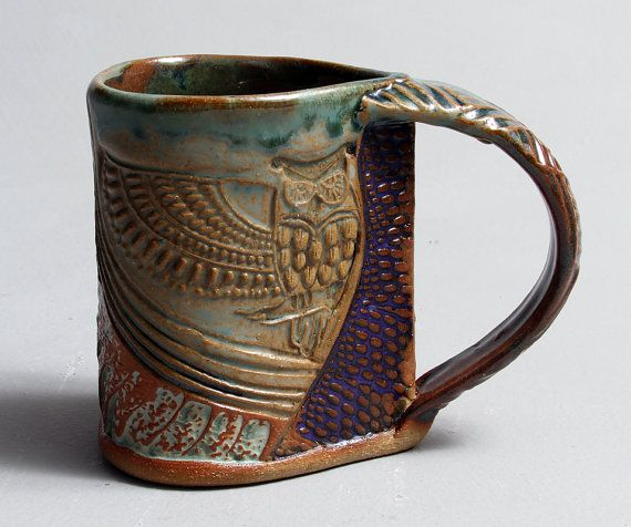 Handbuilt Stoneware Owl Mug by PotterybyHelene on Etsy, $28.00