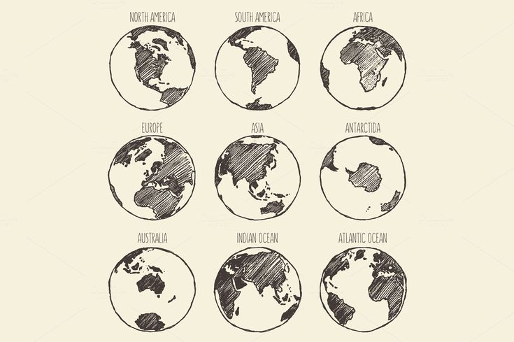 Set of globe sketches by grop on Creative Market