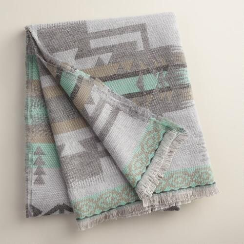Blue Tribal Throw with Fringe | World Market Cost plus has great cozy throws that are affordable