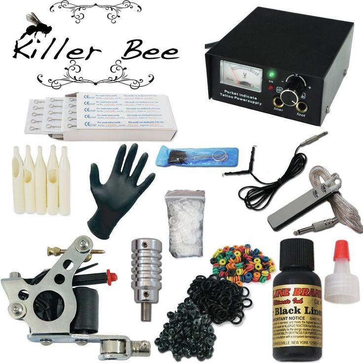 KILLER BEE Beginner Tattoo Starter Kit machine needle gun equipment ink set tip