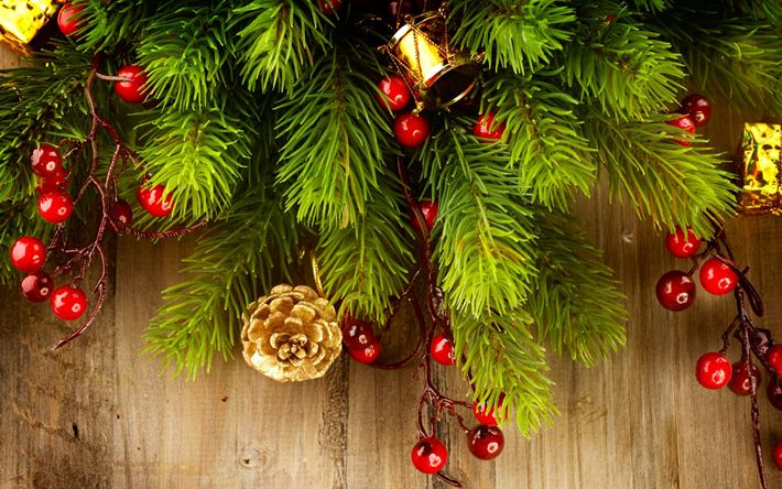 Download wallpapers Christmas, New Year, balls, Christmas tree, Christmas decorations, wooden boards