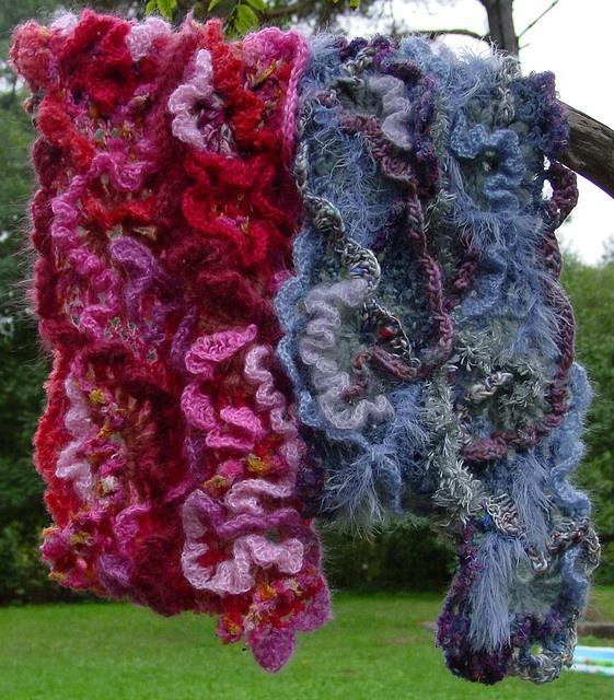 freeform crochet scarves