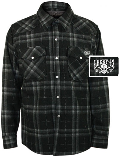 Lucky 13 paso men 39 s flannel button up jacket cloths for Mens shirts with snaps instead of buttons