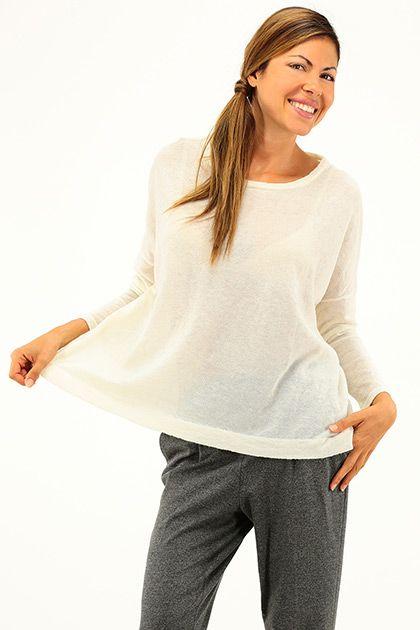 American Vintage - Maglie - Abbigliamento - Maglia in lana fine, con girocollo e manica lunga. - ECRU - € 110.00