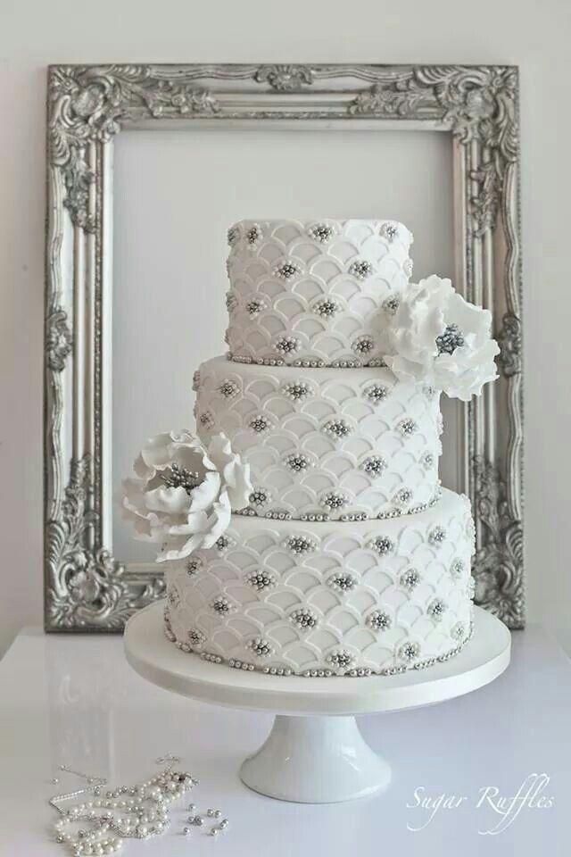 White & Bling Cake