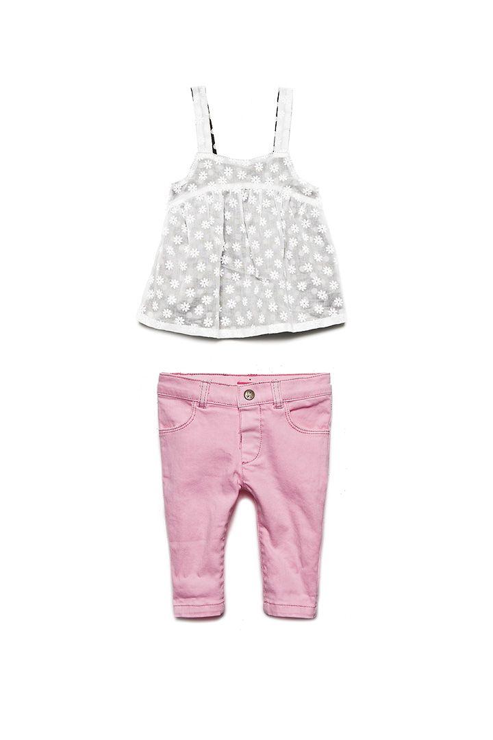 Pantalon rose fluo bébé fille et débardeur bretelles IKKS #SS14 #IKKS