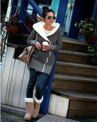 Dark Gray Cotton Ladies Jacket With Big Hood