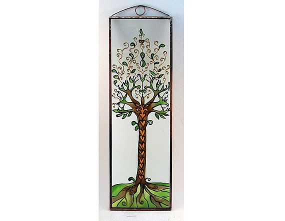 Tree of Life 3  Painted Glass by KorinArt on Etsy