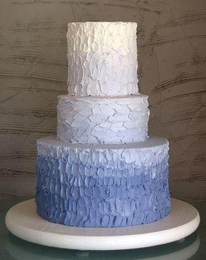 alternative, blue, cream, hand painted, light blue, ombre, round, wedding cakes, ruffles, Fall, Spring, Summer, Winter, modern