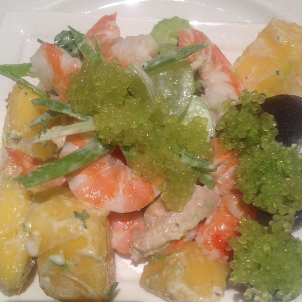 Chicken, prawn, mango and Lime Caviar salad.
