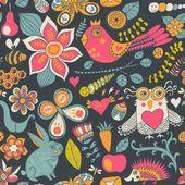 Textura transparente con flores, pájaros y mariposas. utilizar para wa — Vector de stock