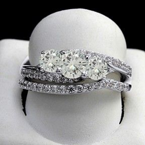 0.75 Ct Round Moissanita Bridal Rings Set In 10K White Gold by JewelryHub on Opensky