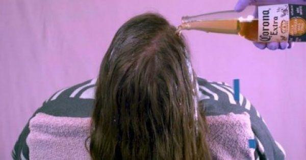Ρίχνει ένα Μπουκάλι Μπύρας στα Μαλλιά της και Περιμένει για 3 λεπτά. Το αποτέλεσμα; ΠΡΕΠΕΙ να το δοκιμάσετε!
