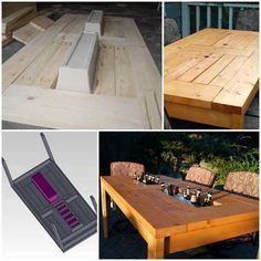 How to Make a Patio Table with Built-in Coolers #DIY #furniture #outdoor