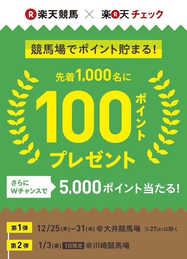 競馬場でポイント貯まる!先着1,000名に100ポイントプレゼント