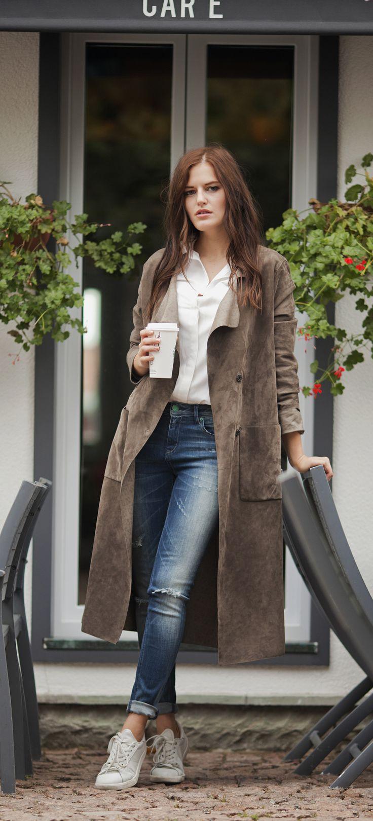 Grey suede duster coat by ADAMOFUR #suede #dustercoat #70s #bohi #chic #casual #minimal