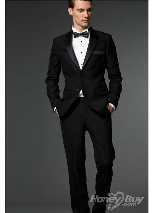 Groomsmen Attire: Black Tuxedo Jacket, Black Pant