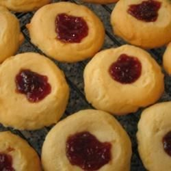 This is a Turkish thumbprint cookie filled with strawberry jam.