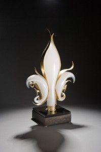 Blown glass fleur de lis by Hyland Glass