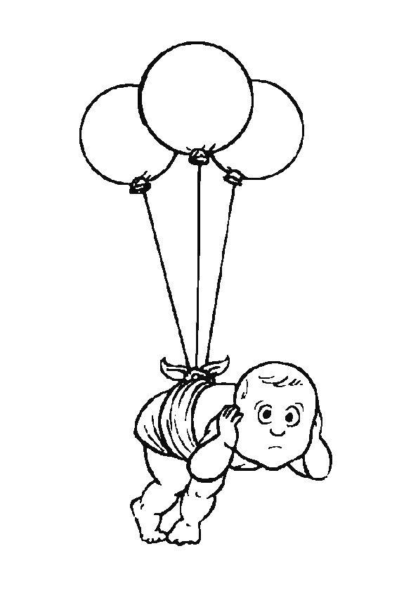 kleurplaat baby aan ballonnen kleurplaten ballonnen en