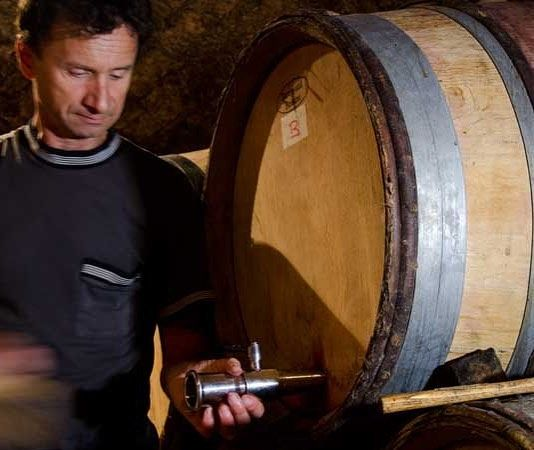 """Next up Hubert Lignier's 2014's on the deck check them out at http://ift.tt/2sy9G8r Laurent Lignier pictured is racking Pinot using the traditional method of tapping the barrel and allowing gravity to do the job. The French call this """"sous-triage"""" There's a bottle or two of Clos de la Roche and Charmes-Charmbertin in the mix. 8 of his wines available.  #drinkit #makeit #burgundy #pinotnoir"""