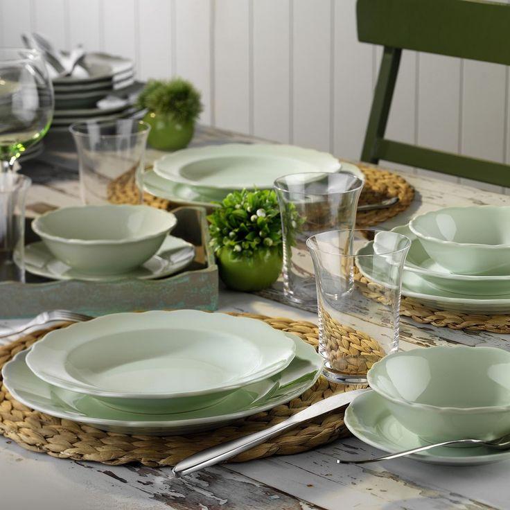 24 Piece Water Green Porcelain Dinner Set