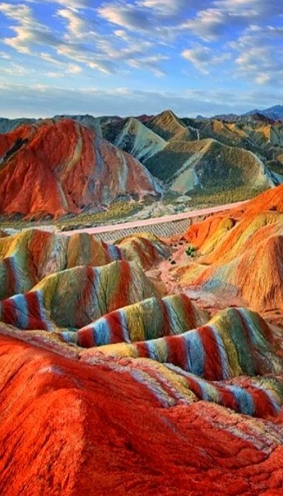 Magical Rainbow Mountains at the Zhangye Danxia Landform Geological Park in Gansu , China