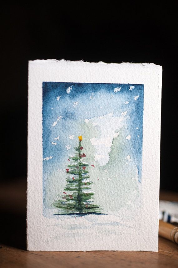 WATERCOLOR CHRISTMAS CARDS, Set of 3, each one han…