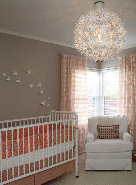 girl nursery: Curtains, Coral Nurseries, Lights Fixtures, Butterflies, Colors Schemes, Baby Girls, Baby Rooms, Girls Nurseries, Nurseries Ideas