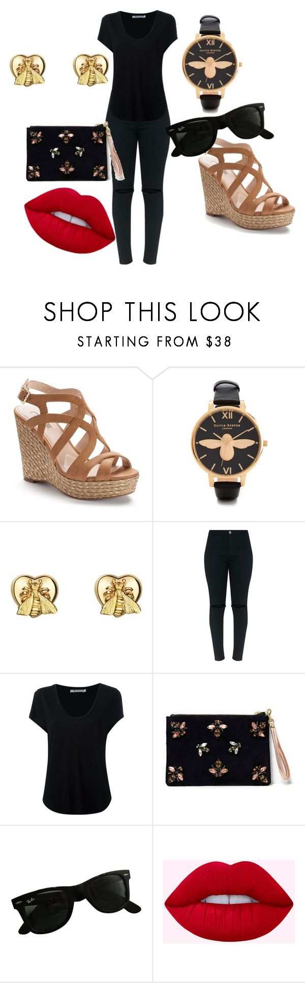 """all 'bout the bee"" by mi-miranda ❤ liked on Polyvore featuring Jennifer Lopez, Olivia Burton, Gucci, Alexander Wang, Angela Valentine Handbags and Ray-Ban"