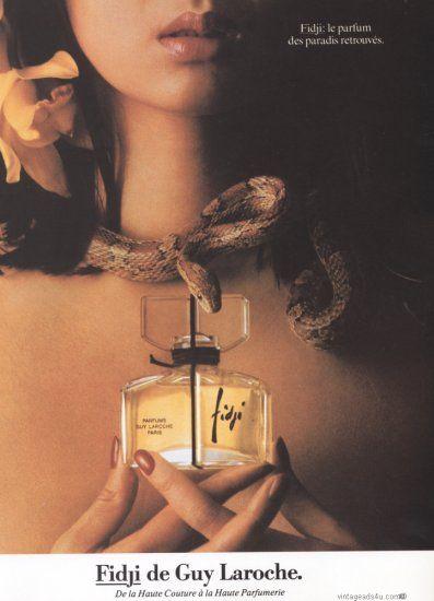 1982 Fidji Perfume Photo Ad Shows Girl with Snake Around Neck  31982AD