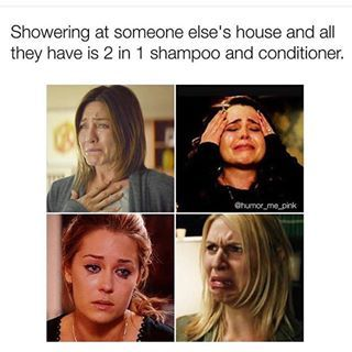 Staying at your S.O.'s house. | 21 Very Real Struggles For Everyone Who Grew Up With Thick Hair