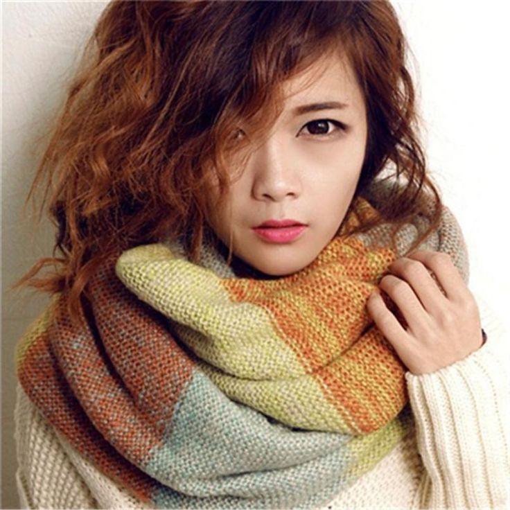 Нью-шарфы мода хомуты-стяжки корейских осень свободного покроя шарф зимы женщины теплые трикотажные шеи круг полушерстяные клобук кольцо длинный шарф утолщаются платок