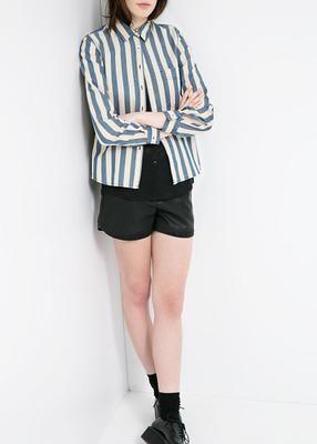gestreepte denim blouse