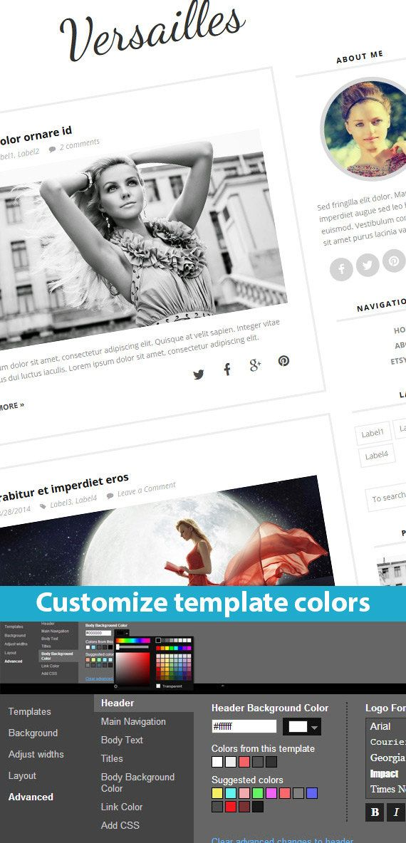 Etsy Blogger Template called Versailles by BloggerTemplate