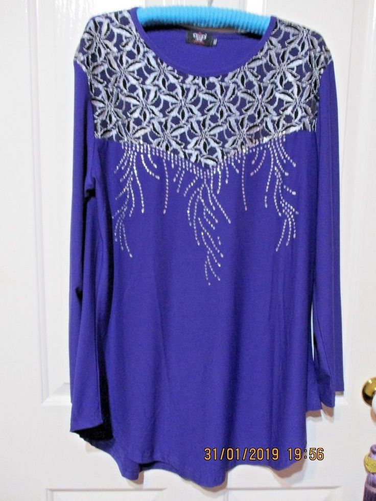 LADIES PURPLE LONG SLEEVED TOP SIZE XXL BEADED AND LACE DETAIL #Clubwear