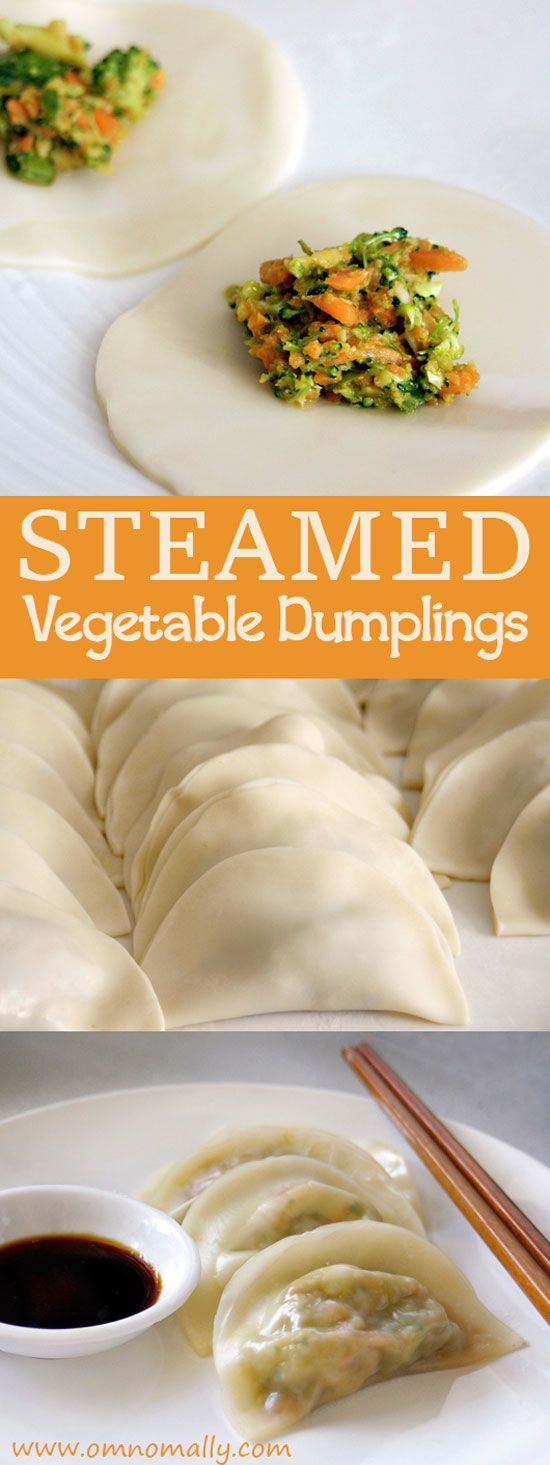 Steamed Vegetable Dumplings with carrot, broccoli and garlic (Vegan)