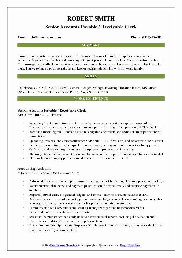 Accounts Payable And Receivable Resume Luxury Accounts Payable Receivable Clerk Resume Samples