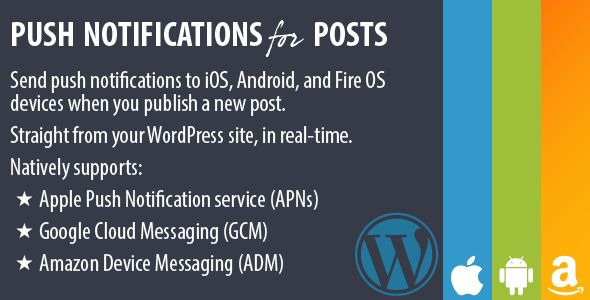 Push Notifications for Posts   http://codecanyon.net/item/push-notifications-for-posts/6868260?ref=damiamio      Push Notifications for Posts, v1.2.1 	 Send push notifications to iOS, Android, and Fire OS devices when you publish a new post. Straight from your WordPress site, in real-time.  	 Alert your visitors when new content is published, converting them to regular and loyal readers. It's like a newsletter, but so much more effective. Keep your audience engaged.  	 Push Notifications for…