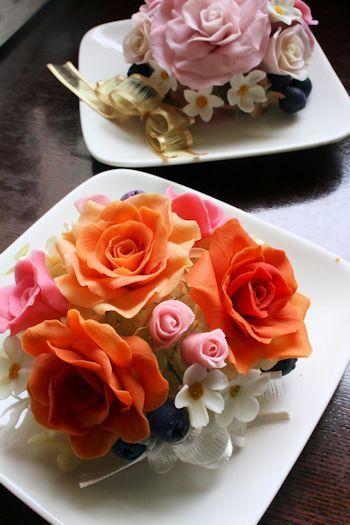 オレンジ&ローズピンク石けんの花 新潟 手作り石鹸の作り方教室 アロマセラピーのやさしい時間