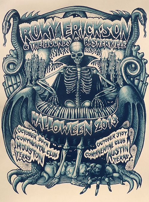 Roky Erickson & The Hounds of Baskerville Halloween Poster by Mishka Westell