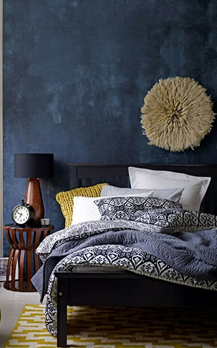 Schlafzimmer Ideen Blaues Bett
