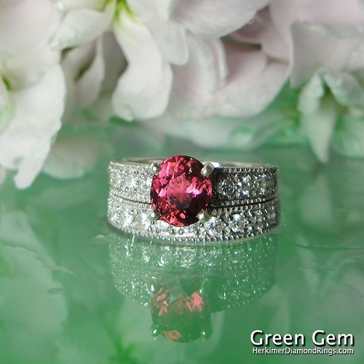 Simple pink rings silver Pink Tourmaline Engagement Ring and Matching Band Sterling Silver and