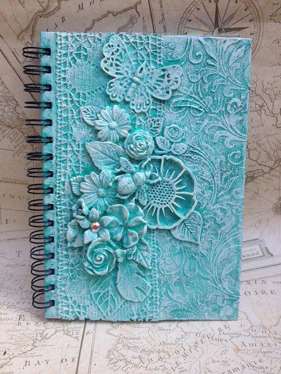 A5 notebook, Notepad, Journal, powertex, Art Journal, mixed media journal, notebook, handmade notebook, mixed media journal, Spiral notebook