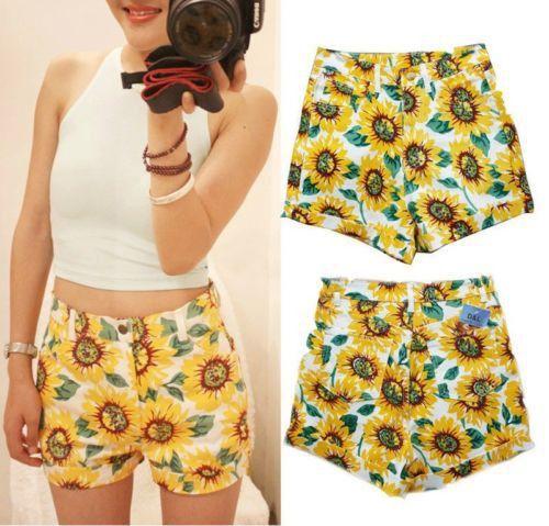 Fashion Womens Summer Casual SUNFLOWER Print High Waist HOT Shorts