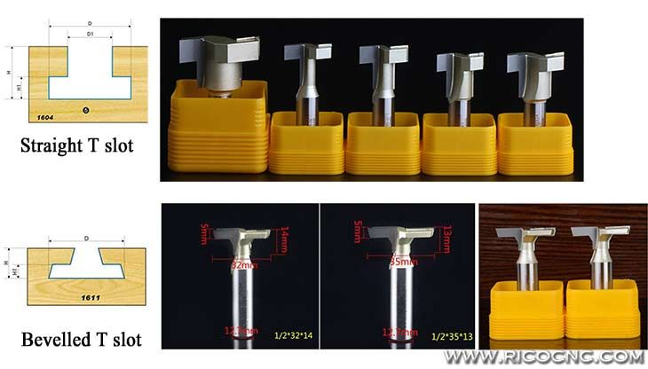 T Slatwall Grooves CNC Router Cutter Bits for Slat Wall T Slot Cutting