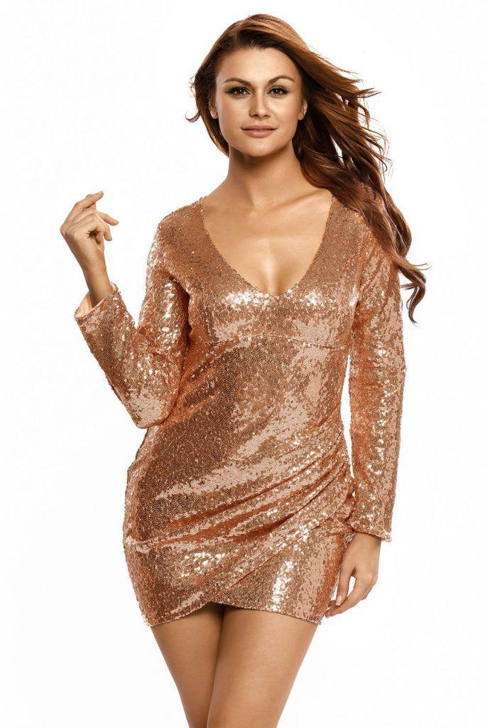 Vestido color champagne corto Mía