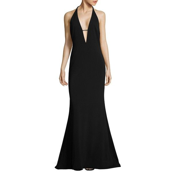 Badgley Mischka Plunging V-Neck Gown ($204) ❤ liked on Polyvore featuring dresses, gowns, v-neck dresses, halter gown, halter top, glamorous evening dresses and open back gown
