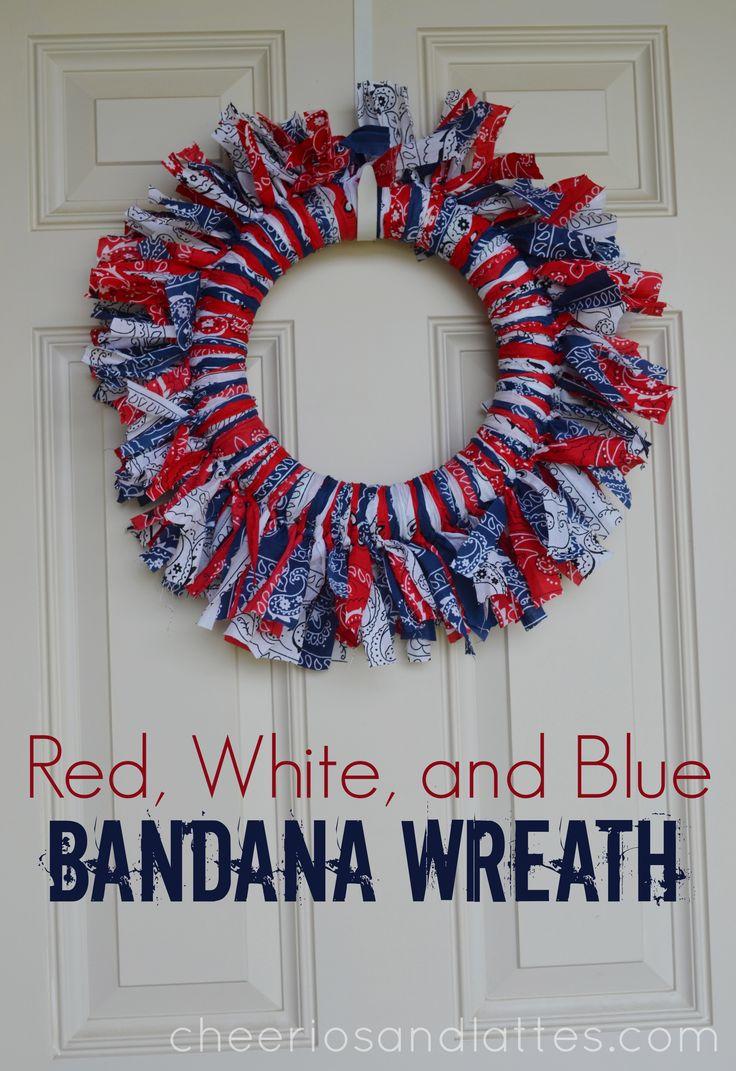 Diy Red And Black Eye Makeup: Red-White-and-Blue-Bandana-Wreath-wreath-diy-homedecor